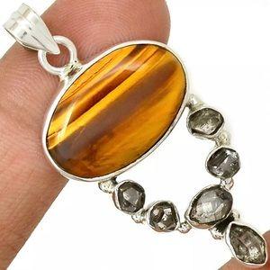 Jewelry - Tigers Eye/Herkimer Diamond 925 Pendant